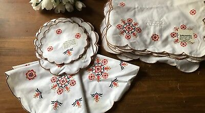 1960s 1970s 20 Retro Vintage Folk Art Placemats & Doileys NOS Unused