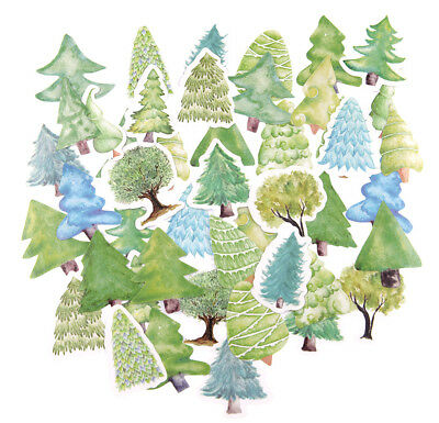 46 pieces forest tree die-cuts Stickers Pack for junk bullet journal notebook
