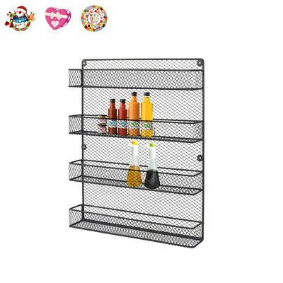 4 Tier Wall Door Wire Pantry Cabinet Spice Rack Storage Organizer Country Style
