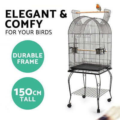 Pet 150cm Bird Cage Parrot Aviary Pet Stand-alone Budgie Perch Castor Wheels