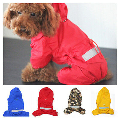 Dog Cat Rain Coat Hoodie Raincoat Jacket Waterproof Clothes For SMALL Pet