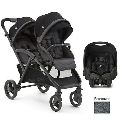 Twin Joie Buggy Duo Tandem Stroller Lightweight Double-Black With Baby Carseat