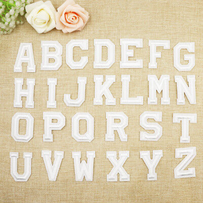 White Alphabet Letter Patch Embroidered Sew Iron on Badge Patches Applique DIY.