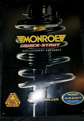 Monroe Shocks Quick Strut Assembly Embossed Vintage Metal Sign Rare!