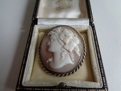 Large Victorian Old Antique Carved Shell Cameo Brooch Of Bacchante