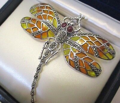 Large Solid Silver Plique A Jour Dragonfly Marcasite Ruby 17 Gms Pin Pendant
