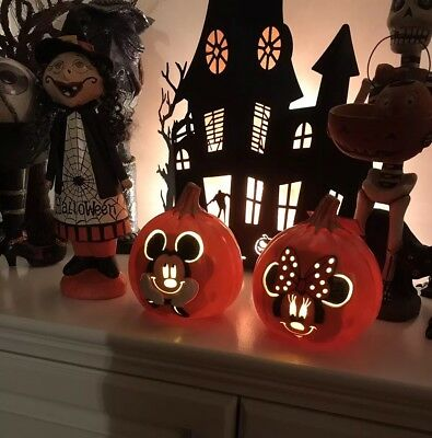 Disney Mickey And Minnie Mouse Light Up Pumpkin Halloween Jack O Lantern Gift