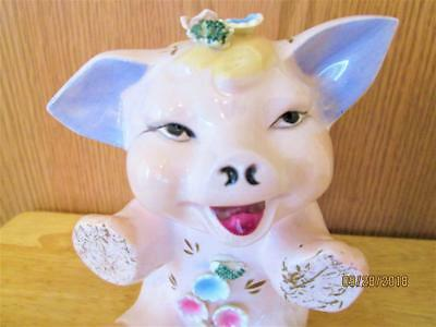 Vintage Lefton China Sitting Pig With Flowers And Purple Ears Piggy Bank
