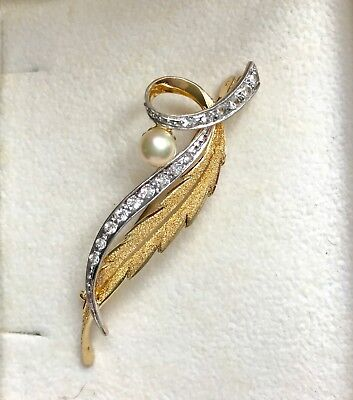 Broche Feuille Argent Or Perle