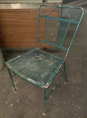 Vintage Wrought Iron Outdoor Patio Chair Green