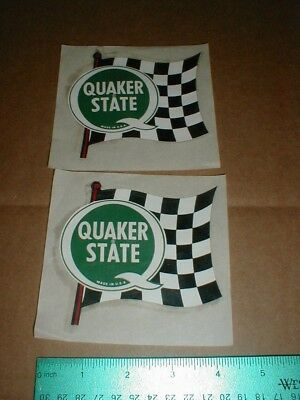2 Old Vtg Quaker State motor Oil Drag racing decal stickers 1970s USA ckerd Flag