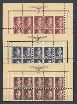 WWII Third Reich Occ.Generalgouvernement Full Set of Partial Sheet Mi 89/91 MNH