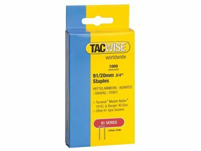 Tacwise 91 Narrow Crown Staples 20mm - Electric Tackers Pack 1000