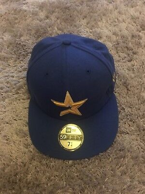 New Era Mlb 59Fifty Fitted Blue Baseball Cap Hat - Houston Astros - Size 7 1/4