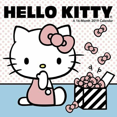 """Hello Kitty 2019 Calendar 12 Month Small Mini 7"""" x 7"""" Wall Hanging Illustrated"""