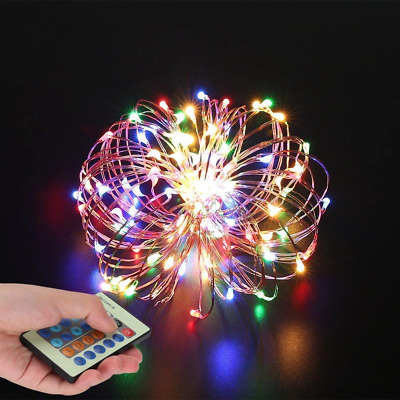 22ft/10m 100LED RGB String Lights Wire Light Dimmable Remote Control for Yard US