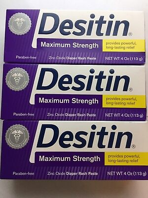 Desitin Maximum Strength Baby Diaper Rash Paste 4oz Pack Of 3 Exp 5/20