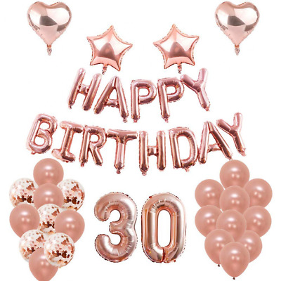 30th Birthday Balloons Decorations Party Set Rose Gold 30 Foil Confetti Latex US