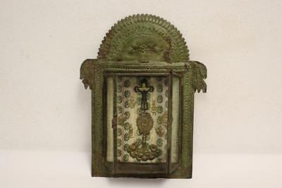 Antique 19th C Mexico Ofrenda (Offering) with Tin Frame.