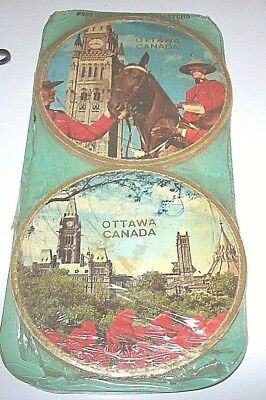 2 Vintage Souvenir Cork Coasters Featuring Ottawa, Canada,Mint in Packaging