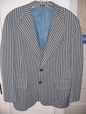 VINTAGE 1970s JC PENNEY TOWNCRAFT BLUE WHITE POLYESTER DISCO SPORT COAT/JACKET