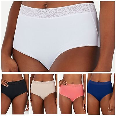 Breezies~(1) Brief~Micro Full Briefs Panties with Lace~A302046