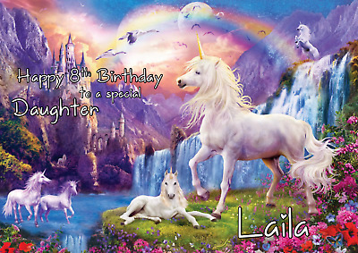 unicorn personalised A5 birthday card daughter sister granddaughter  name age