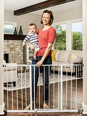 """Regalo Extra Wide Step Through Baby Gate 29""""-50"""" with Extensions Mount Fence New"""