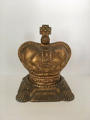 Elizabeth II 1953 Coronation Crown Money Box Piggy Bank Brass England RN 2981252