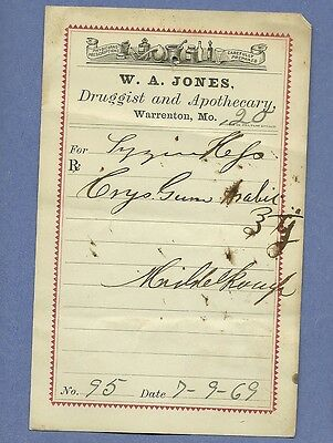 1869 WA Jones Druggist Apothecary Warrenton Missouri Prescription Receipt No 95