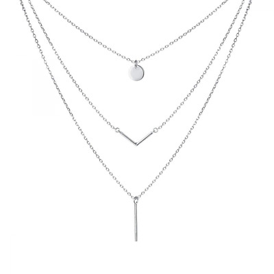 """S925 Sterling Silver Triple Layer Pendant Choker Necklace for Women 16""""+2"""" NEW"""