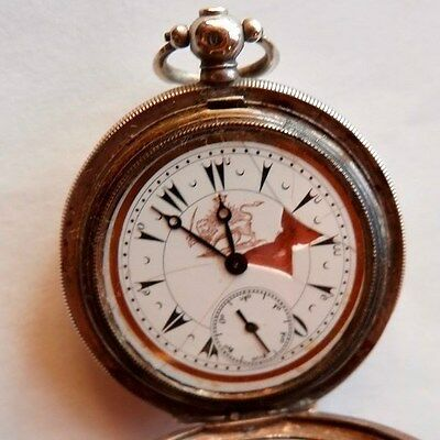 ANTIQUE SILVER POCKET WATCH Turkish Market lion & sun 19TH. IRAN,PERSIAN.IRANIAN