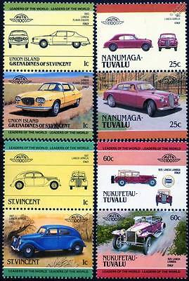 LANCIA Collection of 8 Car Stamps (Auto 100 / Leaders of the World)