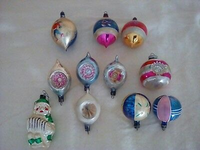 Lot Of 11 Vintage Glass Christmas Ornaments Indents