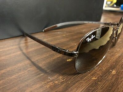 781203f82aa67 Authentic Ray Ban RB 8301 Carbon Fiber 004 51 Gunmetal Sunglasses Brown 59mm