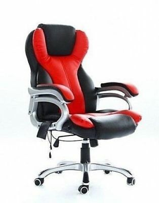 Heated Office Massage Vibrating Chair Computer Gaming Chair Racing Car Seat Red