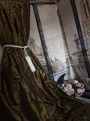 """NEW!Sublime Huge French Damask Antiqued Gold 115""""D 55""""W Lined Long Bay Curtains"""