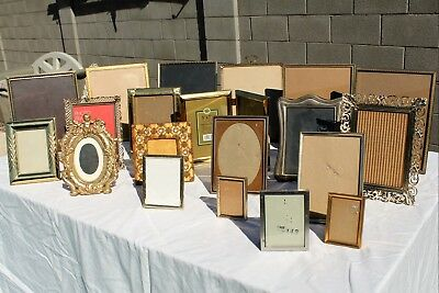 20 Vintage Etched Brass Gold Tone Metal Picture Frame Lot