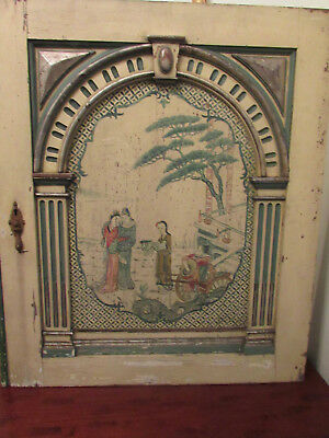 Antique CHINESE PAINTED Wood Panel Large Door COLUMNS