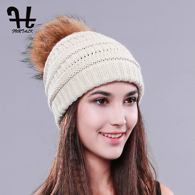 New Woman Winter Spring hat Knit Beanie Raccoon Fur Pom Poms Hat Bobble Hat