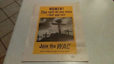 Vintage WWII Join The WAC Women's Army Corps Recruiting Poster Original 1943