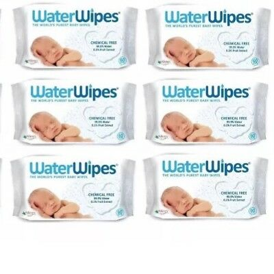BN Water Wipes Waterwipes Baby Pure 6 x 60 Pack Bulk 360 Wipes Lot Nappy Change