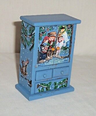 OOAK Dollhouse Miniature Christmas Carolers Hand Painted Cabinet Furniture Shelf