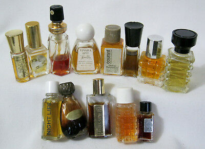 Vintage MINIATURE Many Full Colognes & Perfumes GLASS PERFUME BOTTLES Lot of 13