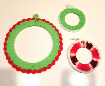 VINTAGE LOT OF 3 HANDCRAFTED Yarn Crochet Wreaths Christmas Tree Ornaments