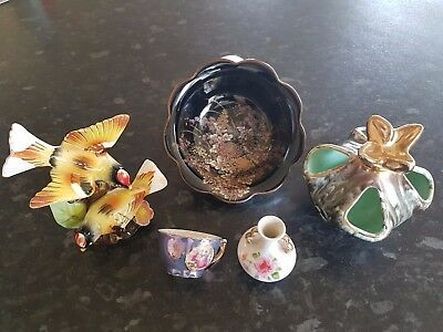 Retro Vintage Vases, SHIBATA Hand Painted Porcelain Dish and Other Pieces