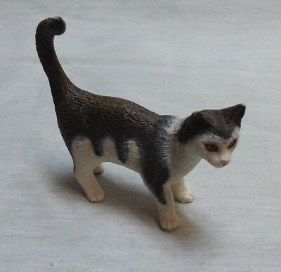 Schleich Standing House Cat Retired Gray White Figure 2.5""