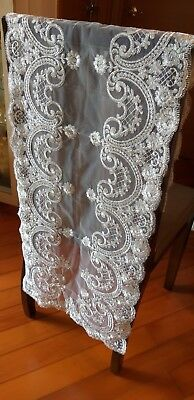 Elegance Rectangle Lace Table Runner Table Linen Trimmed With Silver Embroidery