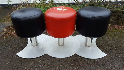A Set of 3 Retro Funky Interconnecting Red & Black Leatherette Stools/Bar Stools