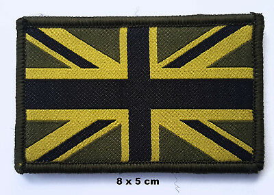 British Union Jack Flag Olive Green Embroidered Woven Patch- VelcroBacked